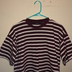 Topshop burgundy striped crop tee